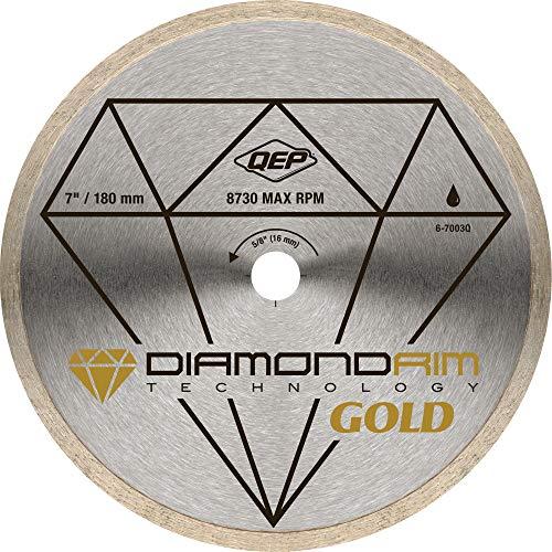 QEP 6-7003Q 7 Inch Diameter Continuous Rim Premium Diamond Blade for Wet Cutting Porcelain and Ceramic Tile, 5/8 Inch Arbor, 5500 Maximum RPM