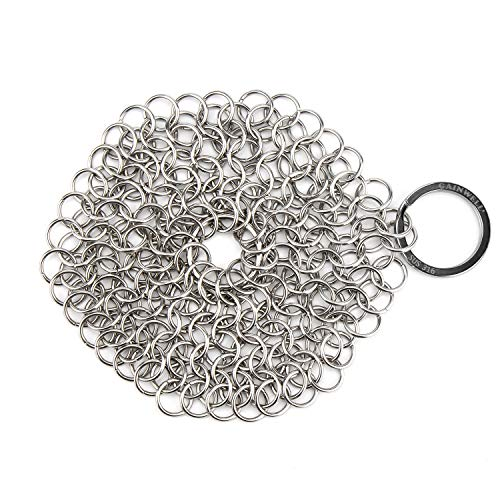 GAINWELL Stainless Steel Chainmail Scrubber Steel Cast Iron Cleaner 4in