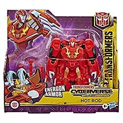 17-cm Hot Rod figure: Hot Rod figure is an impressive 17-cm tall Power-up hot rod with energon amour: Combine ultra class hot rod with energon amour to convert him into his powered-up mode. Pull out his Ion X-Bow weapon in the last conversion step to...