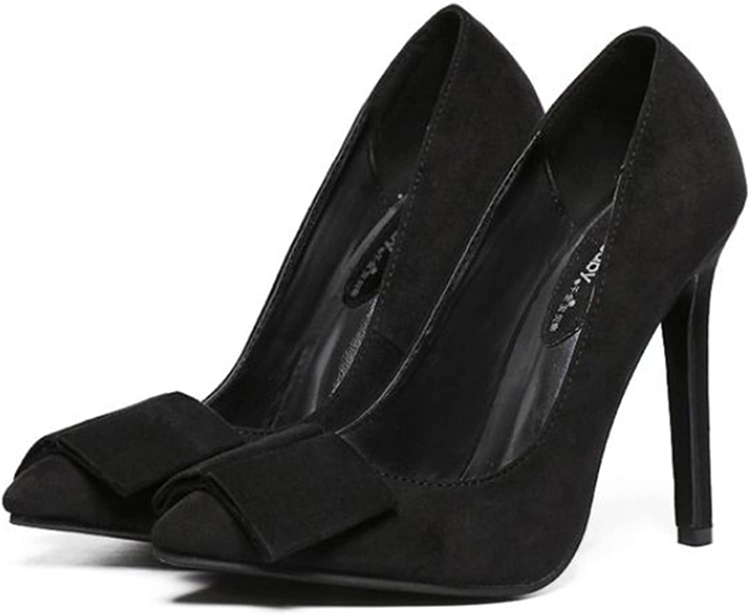 Suede Pointed Low-cut Bowknot Thin High Heel Thin shoes balck 40