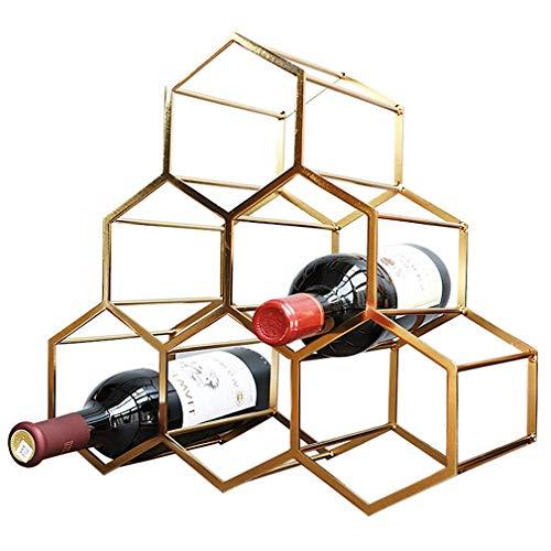 QAQA Kreative Weinregal, freistehende Flaschenhalter Aufsatz- Lagerung Metall gebürstet Gold Geometric Design for Rot Weißwein, 6 Flaschen Wein Platzierung
