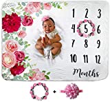 Baby Monthly Milestone Blanket | Includes Floral Wreath & Headband | 1 to 12 Months | Premium Extra Soft Fleece | Best Photography Backdrop Photo Prop for Newborn | Baby Girl