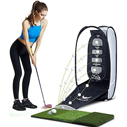 Red para fichas de golf, campo de práctica de golf interior plegable, con 6 pelotas de golf para campo de práctica y 3 alfombrillas de paja, que se utilizan para el entrenamiento de velocidad y swing