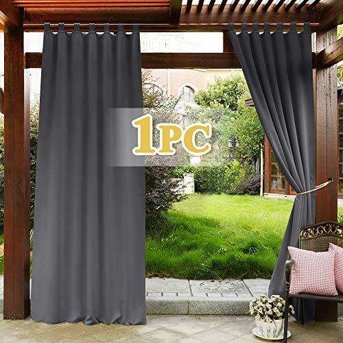 PONY DANCE Outdoor Vorhang Blickdicht - Gardinen Balkon Sichtschutz & Sonnenschutz Garten Vorhänge Licht Blockieren Schlaufenschal Gardinen, Grau, 1 Stück H 243 x B 132 cm