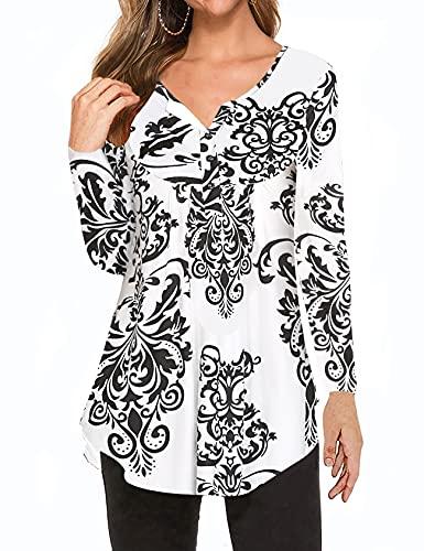 Halife Tunic Shirts for Women, Ladies Henley Long Sleeve V Neck Flattering Loose Fitting Tops Black XXL