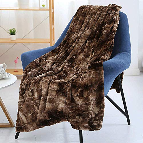 LAOSHIZI Mantas para Cama Cama Sofá Batamanta de Franela Suave Cálido Microfibra Blanket Bedsure Mantas para Sofás de Franela Marrón(130cm*160cm)