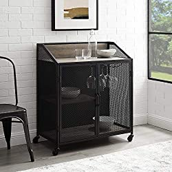 cheap Walker Edison Industrial Bar Cabinet Made of Wood and Metal with Wheels Wine Glass and Bottle Kitchen…