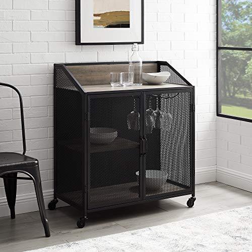 Walker Edison Malcomb Urban Industrial Metal Mesh Double Door Rolling Bar Cabinet, 33 Inch, Grey