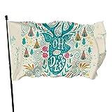 Bandera de jardín Patio al aire libre con ojales de latón vintage reno con cuernos bandera nativa americana mosca decoración interior del hogar