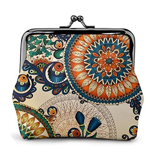 Monedero monedero de cuero de la PU bolso colorido bohemio boho hippy chic mujer cartera embrague bolso señoras retro vintage impresión pequeño cerrojo