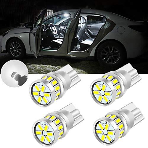 yifengshun 4x T10 W5W LED Bulbs 194 168 Bombillas Súper brillante 3014 18-SMD Auto Luz de Estacionamiento Luces de Puerta Lectura- Blanco