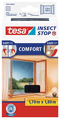 tesa Insect Stop COMFORT Fliegengitter für Fenster - Insektenschutz mit Klettband selbstklebend - Fliegen Netz ohne Bohren, anthrazit (durchsichtig) 170 cm x 180 cm