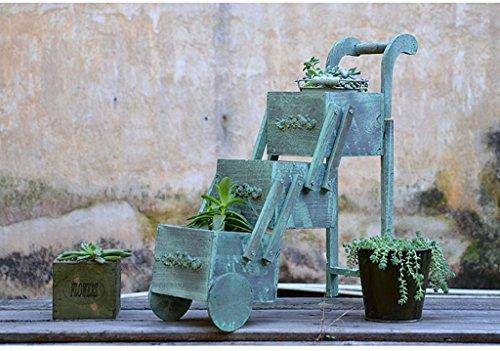 MEILING Américain Rural Bleu Clair En Bois Massif Mini Fleur Stand Petit Panier Balcon Woody Succulentes Pot De Fleur De Bureau Boîte De Rangement