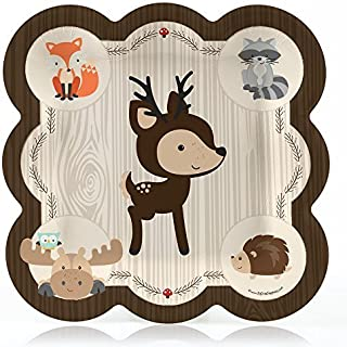 Big Dot of Happiness Woodland Creature - Baby Shower or Birthday Dinner Plate (8 Count)