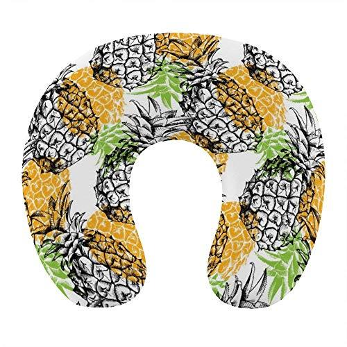 Almohada de Viaje de Espuma viscoelástica Suave, Almohada para el Cuello en Forma de U con Funda Lavable para aliviar el Dolor en el Cuello, Girasoles Amarillos