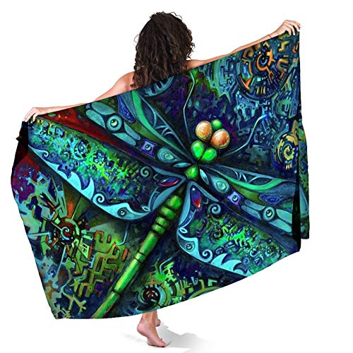 Keceur Indian Mandala Dragonfly Insects Animal Beach Sarong for Women Sheer Cover Ups Chiffon Bikini Wrap Skirt for Swimwear, Girls 3D Printed Swimsuit Wrap, Lightweight and Quick Dry Pareo
