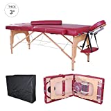 Soozier 91-Inch 3-Section Portable Massage Table with Carrying Bag, 3-Inch Thick, Rose Red