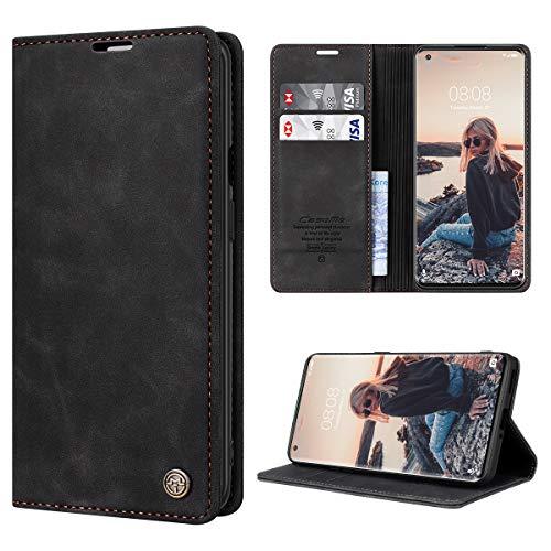 RuiPower Handyhülle für OnePlus 8 Pro Hülle Premium Leder PU Flip Hülle Magnetisch Klapphülle Wallet Lederhülle Silikon Bumper Schutzhülle für OnePlus 8 Pro Tasche - Schwarz