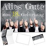 A4 XXL 18 Geburtstag Karte DAUMEN HOCH mit Umschlag -