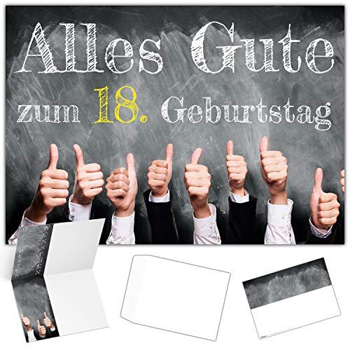 A4 XXL 18 Geburtstag Karte DAUMEN HOCH mit Umschlag - edle Geburtstagskarte - Glückwunschkarte zum 18. Geburtstag Junge & Mädchen von BREITENWERK