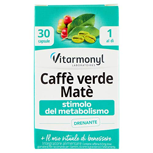 Vitarmonyl Mafita Caffè Verde Matè Integratore 30 Capsule, Stimolo del Metabolismo, Drenante