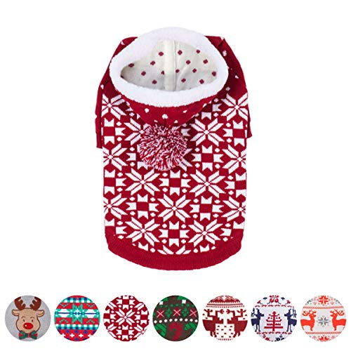 Blueberry Pet Let It Snow Classic Ugly Christmas Holiday Snowflake Pullover Hoodie Dog Sweater in Red and White, Back Length 12', Pack of 1 Clothes for Dogs