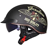 GAOZHE Cascos Adultos Retro Casco Moto para Hombre Cascos Half-Helmet Motocicleta Scooter Cascos de Mitad de Coche de Época Cara Abierta con Gafas Piloto Negro Aprobado por ECE