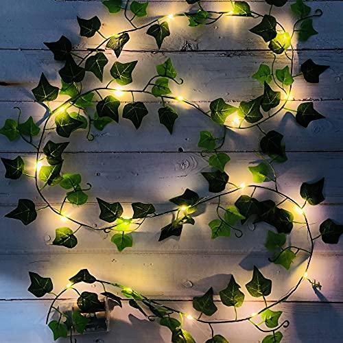 2M 20 LED cadena de luz hiedra artificial/planta de hoja verde vid lámpara de cuento de hadas/alambre de cobre flexible es para interiores, dormitorios, bodas, decoración de fiestas?2 piezas?