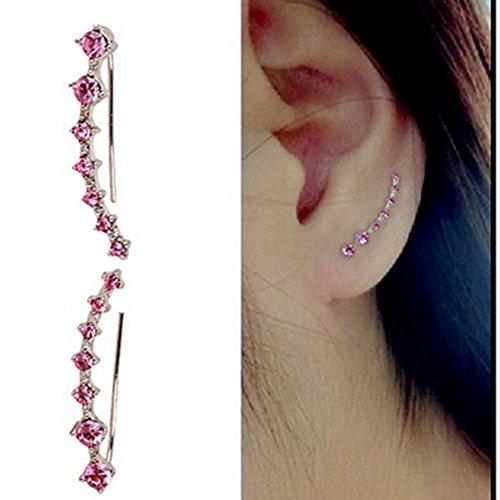 Unho Frauen Rose Gold Ohrringe One Row Strass Kristall Star Ohr Clip-Vine Wrap Pin Ohr Manschetten Haken Ohrring