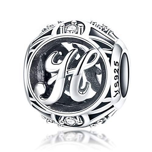 100% echtes 925 Sterling Silber Vintage A bis Z klare CZ Alphabet Buchstaben Beads für Pandora Charm-Armbänder, Armreifen und Halsketten (Buchstaben H)