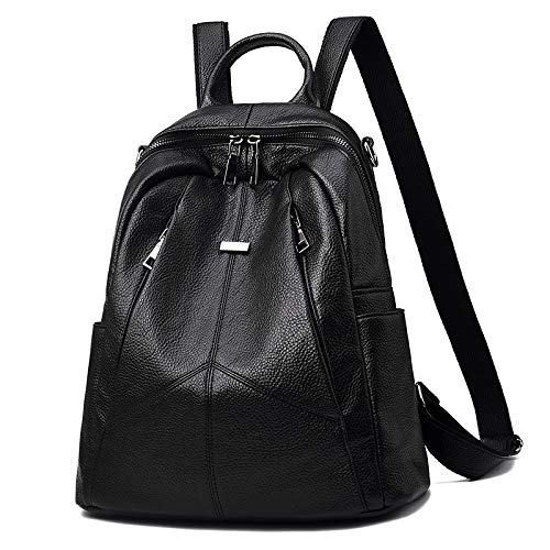 Backpack Rucksack Shoulder Bag Soft Leather Ladies Travel Backpack Casual 100 Strap Fashion Zipper Black 30 X 33 X 13Cm