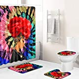 4PCS/Set Multi-Colored Sexy African American Women Shower Curtain Set with Rugs and Accessories for Bathroom Decor