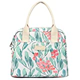 DIIG Flower Lunch Bags for Women, Large Insulated Lunch box, Freezable Womens Lunch Tote for Work, Adult Reusable Cooler Bag, Foldable Packit Bag for Lunch(Floral/White)