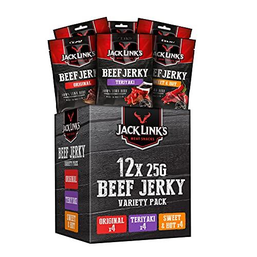Jack Links Beef Jerky Mixed Case 25g - 12er Pack (12 x 25 g) - Proteinreiches Trockenfleisch vom Rind - Getrocknetes High Protein Dörrfleisch - in 3 Varianten