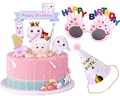 Svnaokr 10Pcs Tortendeko Baby Geburtstag Zahn Kuchen Kuchendeko Regenbogen Happy Birthday Party für Kinder Mädchen Junge (Rosa)