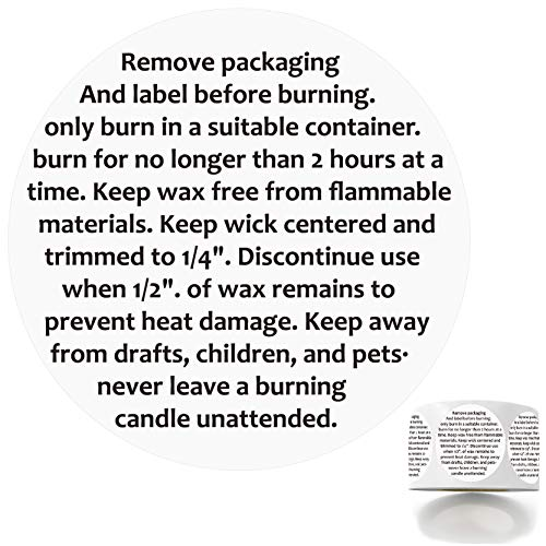 """500 Candle Warning Stickers, Candle Jar Container Labels Wax Melting Safety Stickers Decal for Candle Jars, Tins and Votives, 1.5"""" Round Label Black and White Text."""