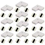 LitaElek 4 Pin con Forma de L r├бpida Splitter RGB LED Strip Conector de Cinta LED del Conector de ├бngulo Recto de la Esquina Conector para SMD 5050 3528 2835 RGB LED de Luces de Tiras (10 pcs)