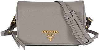 Womens Vitello Phenix Shoulder Flop Grey Leather Crossbody Bag 1BD163 (Grey)