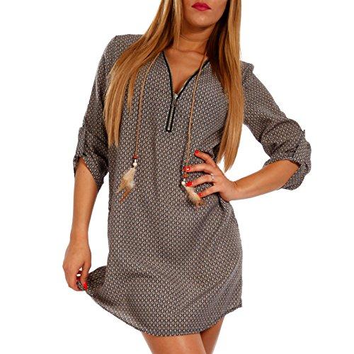 Young-Fashion Damen Tunika Hippie Minikleid Tunikakleid mit Zipper Ausschnitt Strandkleid aus 100% Viscose, Farbe:Mehrfarbig/Muster11, Größe:M/L (Herstellerempfehlung 36/38)