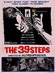 Promo for Hitchcock's The 39 Steps showing black and white montage of cuffed hands, steps and cast, with film's title in red letters