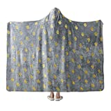 NANPIPER Flannel Fleece Blanket, Hoodie Wearable Super Soft Throw Blanket, Hot Stamping Pineapple Pattern Microfiber Fleece Throw for Sofa Couch (Twin Size 65'x80', Light Grey)