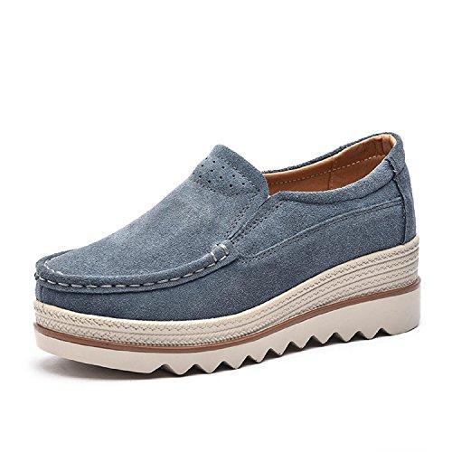 LILY999 Mocassini Donna in Pelle Scamosciata Moda Comode Loafers Scarpe da Guida con Zeppa Plateau 5cm Nero Blu Cachi(Blu Grigio,40 EU)