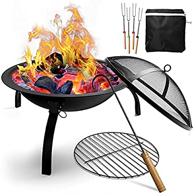 ZapaEsti Portable Fire Pits for Garden Outdoor Fire Pits Steel Folding Wood Burning Fire Bowl With Grill & Cover & Poker Camping Fire Pit BBQ by ZapaEsti