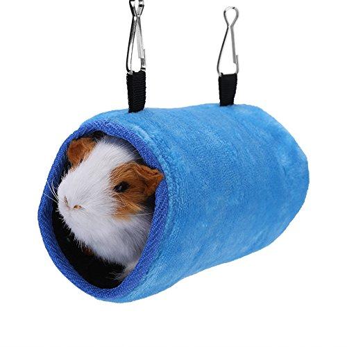 Hamster Hamaca, cálido túnel de Felpa y Tubo Animales pequeños Mascotas Aves Jaula Cama Colgante para Loros Ardilla Chinchillas (Azul s)