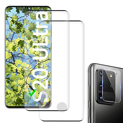 [2 Pack] Samsung Galaxy S20 Ultra Screen Protector Include [1 Pack]Tempered Glass Camera Lens Protector[Anti-Scratch][3D Full Coverage][HD Transparent] for Galaxy S20 Ultra