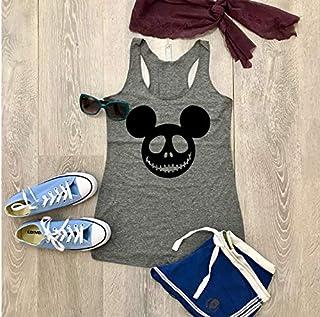 Halloween Mickey Mouse. Disney. Tri-Blend Tanks. Women Clothing. Grownup Disney Tank. Disney Halloween Mickey Skull Head.