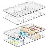 mDesign Organizador de medicamentos – Cajas apilables con 5 divisiones y Tapa para Cocina y baño – Caja con Compartimentos para pomadas, medicamentos, Vendas o tiritas – Juego de 2 – Transparente