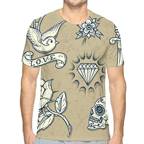 NAA Set da Uomo Old School Tattoo Elements Rose T-Shirt da Uomo Manica Corta Summer Quick-Dry Golf T-Shirt