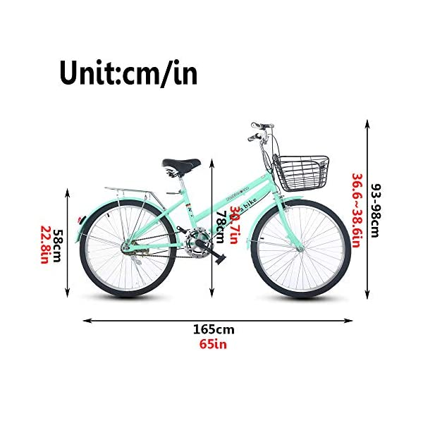 Cruiser Bikes DRAKE18 Women's bicycle, 24 inch 6 speed shift double disc brakes city light commuter retro ladies adult with car basket
