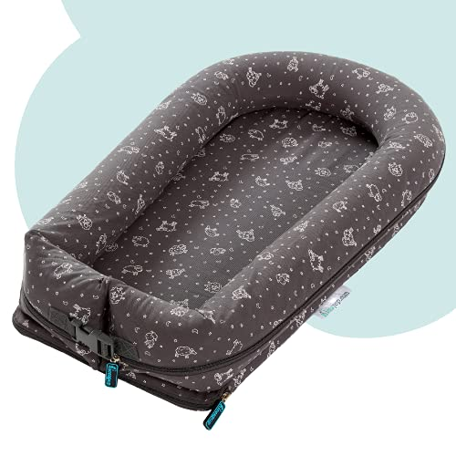 hiccapop DreamPod Inflatable Portable Baby Lounger for Newborn Baby | Travel-Friendly Baby Lounger Nest for Newborn | Baby Nest Lounger Bed fits in Suitcase | Compact Infant Lounger Baby Nest Sleeper